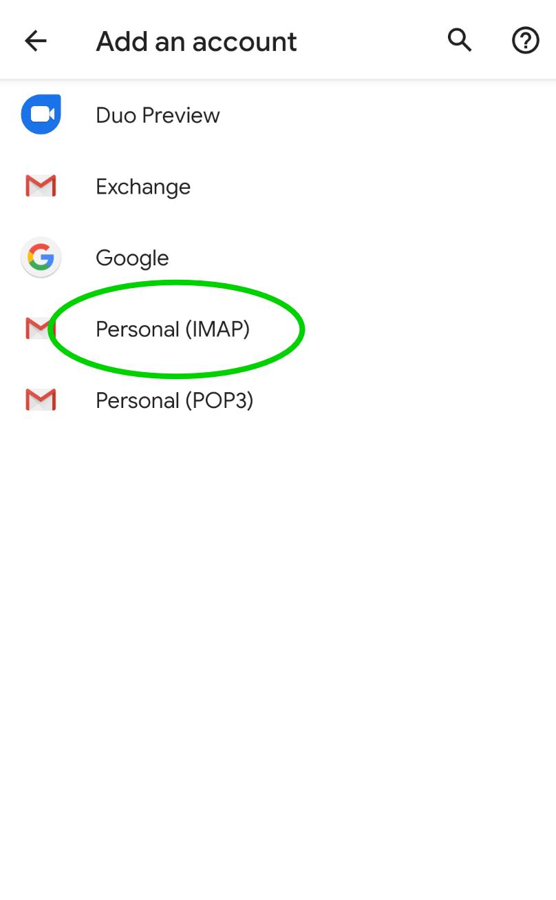 Oppsett av e-post for Android
